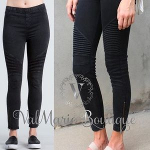 Mineral wash black Moto zipper ankle stretch pant